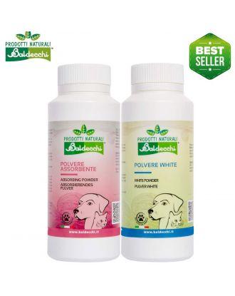 Baldecchi White Powder 100g + Absorbing Powder 90g - zestaw pudrów dla białych psów, do usuwania przebarwień z sierści i zacieków pod oczami